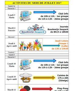 agenda activités juillet 2017