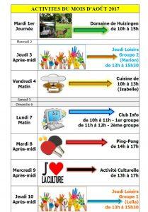 agenda activités loisirs août 2017